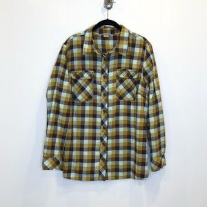 DULUTH TRADING COMPANY Mint Check Flannel, Sz 1X